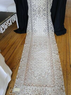 "Antique Linens-Lovely Italian 152"" Bobbin And Needle Lace Refectory Tablecloth"