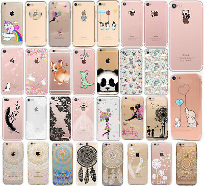 coque gel housse silicone motif pour Apple iPhone SE 5s 5 6s 6+ 7 8 7+ 8+ X TPU