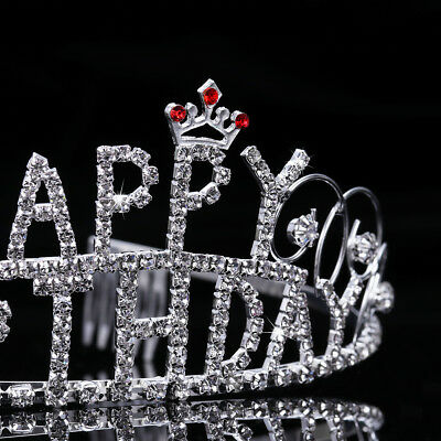 Frcolor Rhinestone Exquisite Happy Birthday Tiara Headwear Girl Crown with Combs