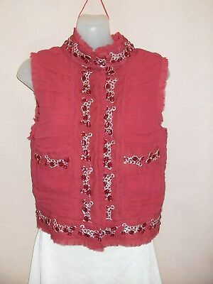 "2000's Vintage ""Alannah Hill"" Silk Vest with Beading."