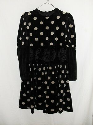 1980's Vintage Young Teen Velvet Dress with Long Sleeves