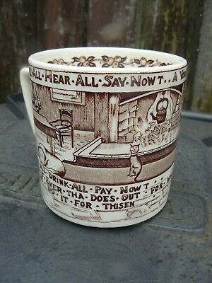 Crown Devon A Yorkshiremans Advice to His Son Nowt Tea Mug Used