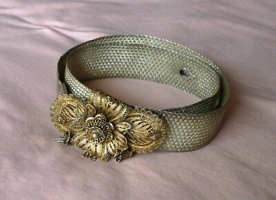 Antique. Silver Belt. Belt Buckle Filigree Decoration. Scars.