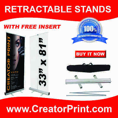 33x81 Retractable Roll Up Banner Pop Up Stand+FREE PRINT