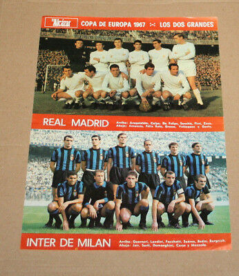 Poster Real Madrid Inter Milan European Champions Club's Cup 1/4 Final 1967
