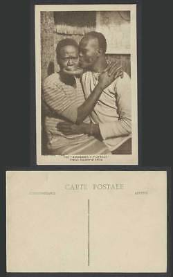 French Equatorial Africa Old Postcard Negresses Plateaux, Native Woman Lip Plate