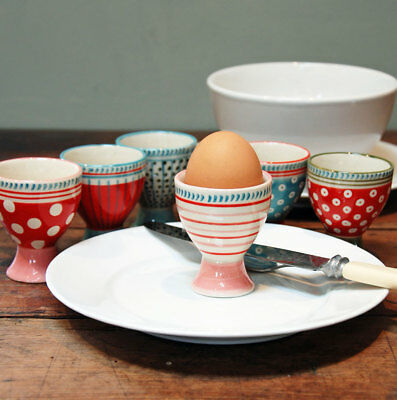 Set of six hand painted individual French ceramic egg cups