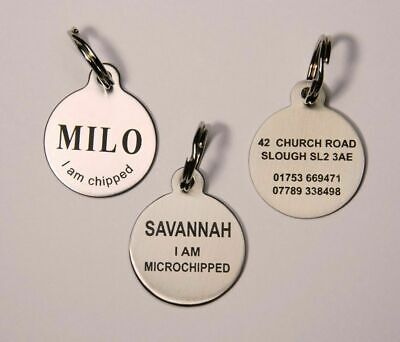 Dog Tag Pet ID Tag Dog Disc Stainless Steel Laser engraved both sides FREE POST