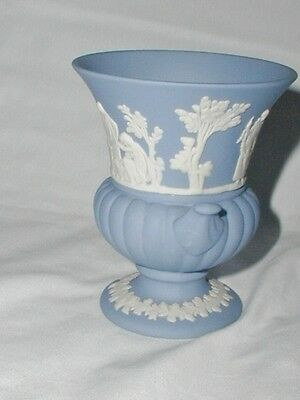 Vintage Blue White Wedgwood Vase Pot Classical Maidens Scenes