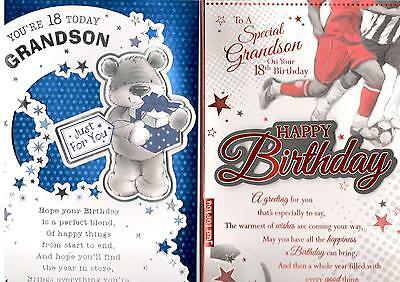 18th Birthday Card For Grandson Various Designs To Choose From