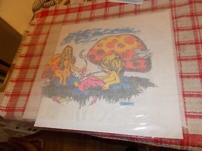 Vintage      70's    Iron  On   Transfer  Hippy   Couple   Smoking  In   Field