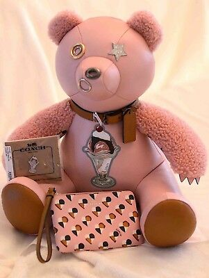 "COACH Sundae Leather Teddy Bear Pink 15"" Star Limited  NWT LOT $715.00 Value NR"