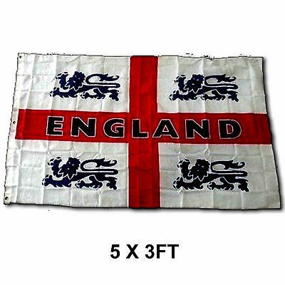 Large 5 x 3ft ST George Cross English Flag 5' x 3' ft England 4 Lions NEW