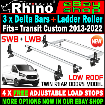 (Low Roof,Twin Rear) 3x Rhino Bars Roof Rack and Rear Roller Ford Transit Custom