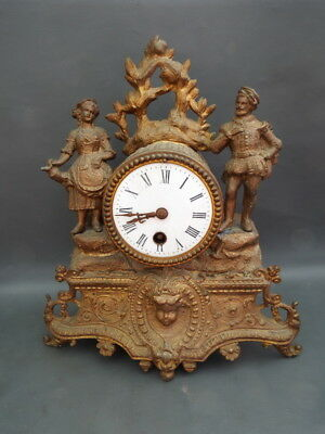 Vintage French spelter clock with Japy Freres movement for restoration or spares