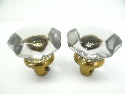 Antique Pair Old Clear Glass Metal Brass Decorative Scallop Dot Doorknobs Knobs