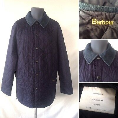 Mens Barbour Liddesdale Classic Blue Quilted Outdoor Jacket Cord Collar UK Large