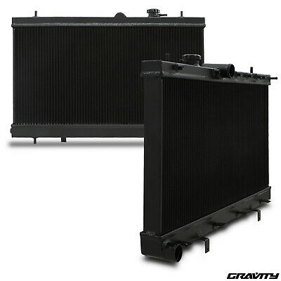 40mm BLACK ALUMINIUM RADIATOR RAD FOR SUBARU IMPREZA GDA GDB WRX STI TURBO 03-07