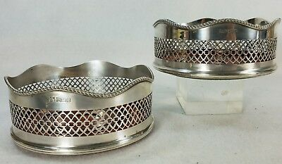 Fine Large Pair English Sterling Silver Reticulated Wine Coasters PHV Birmingham