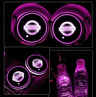 1Pair for NISSAN RGB Colorful LED Car Cup Holder Mat Pad Auto Atmosphere Lights