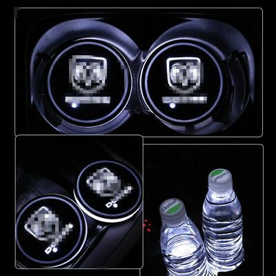 1 Pair Colorful LED Car Cup Holder Mat Auto Interior Atmosphere Lights for DODGE