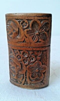 Small vintage oval floral carved treen box