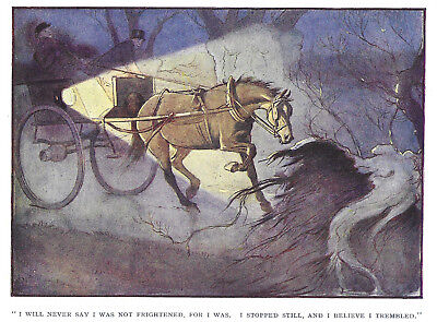 Cecil Aldin, Horse, Original Vintage Antique Rare print: Night scene c1900