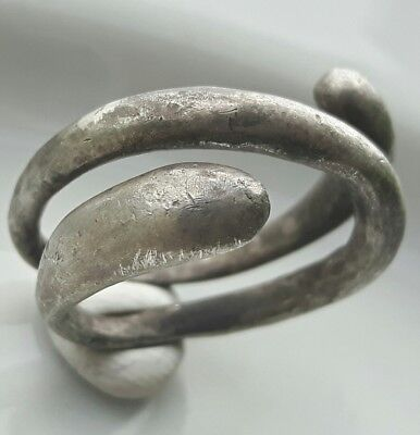 Silver Medieval SNAKE RING ** TWO HEAD SNAKE **Roman Style GREAT LOOK !!