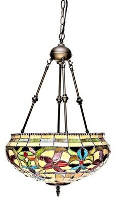 "Tiffany Style Floral Hanging Lamp Stained Glass 16"" Shade Handcrafted"