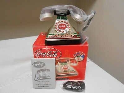 Coca Cola Light up Stained Glass Look Real Corded Telephone