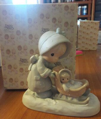 1987 Precious Moments Enesco - Retired Collectible Porcelain Figurine - January