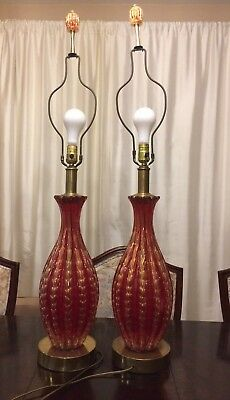 Vintage Murano Glass Table Lamps Pair Seguso Red/gold Large Antique Mid-Century