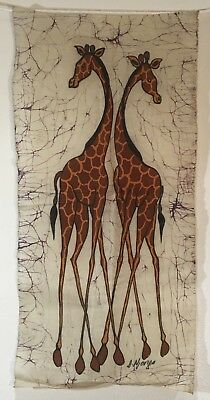 Ethnic African Giraffe Batik Fabric Wall Hanging Waxed Linen Signed Textile Art