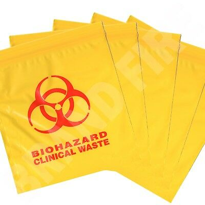 Biohazard Clinical Waste Bags - Medical Disposal  - Self Seal First Aid - Small