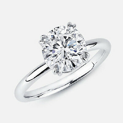 2.00ct Round Diamond Solitaire Engagement Ring 14k Solid White Gold Classic Ring