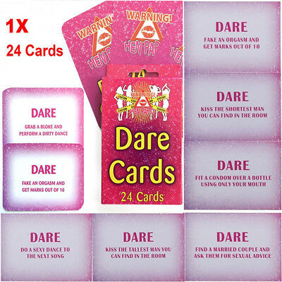 24 Hen Do Party Dare Cards Hens Night Out Pink Accessories Novelty Cards Girls