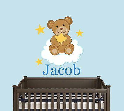 Custom Name Baby Teddy Bear In The Cloud With Stars - Baby Boy / Girl - Wall For