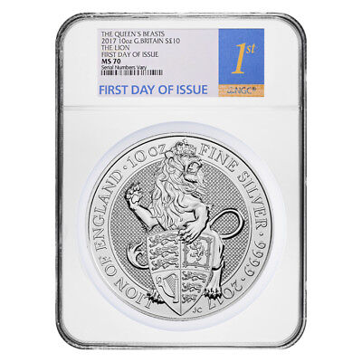 2017 Great Britain 10 oz Silver Queen's Beasts (Lion) Coin NGC MS 70 FDOI