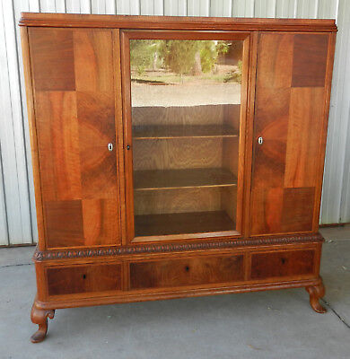 Display Cabinet Triple Front 1920's Magnificent Vintage Art Deco Walnut