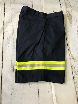 Riverside Men Work Shorts Plain Front Reflective Uniform Navy Blue
