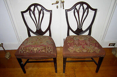 Pair of antique Hepplewhite shield back side-chairs, needle point seats ca. 1790