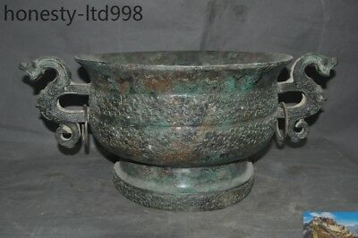 "22""Old Chinese Bronze Ware beast Double ring statue pattern Wine vessel Bowl cup"