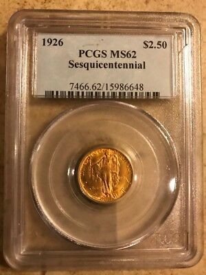 1926 $2.50 Sesquicentennial Gold Commemorative Graded MS62 by PCGS