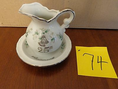 Lefton China #1134 25th Anniversary Pitcher & Bowl Silver Handpainted,lennox