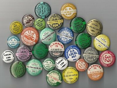 OLD UA PLUMBERS PIPEFITTERS STEAMFITTERS UNION DUES Pin Pinback Button LOT