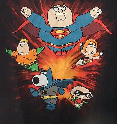 The Family Guy Cast as DC Super-Heroes Black SZ L Fighting T-Shirt Superman