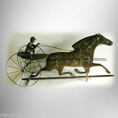 Weathervane with sulky and horse - vintage folk art - copper patina FREE SHIP