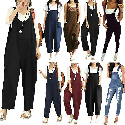 Womens Sleeveless Dungaree Jumpsuit Playsuit Loose Romper Overall Harem Pants