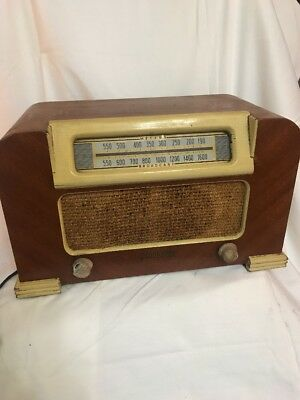VINTAGE 40s GENUINE PHILCO ART DECO OLD ANTIQUE Wood box RADIO #42-321 Model