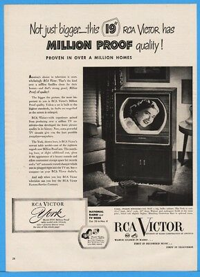 1950 RCA Victor York Television Console Kukla Fran Ollie Million Proof Photo Ad